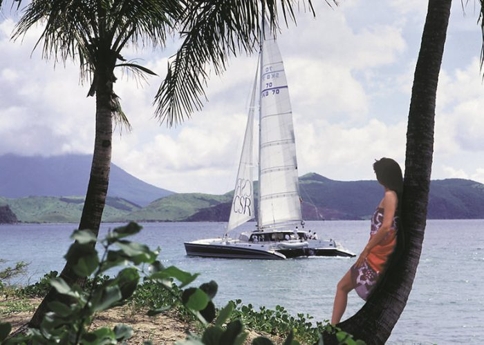 Catamaran and model on the island of St. Kitts in the Caribbean